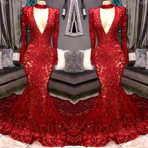 Bright Red Medio Oriente V Neck sirena Prom Dresses 2020 pura sexy maniche lunghe paillettes Plus Size africano degli abiti di sera BC3674
