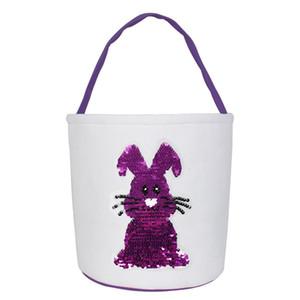 Paillettes Easter Basket coniglio bagagli borsa Carino Cestino di Pasqua Gift Bag Giorno Coniglio Stampato Candy Borse di favore di partito OOA7486-3