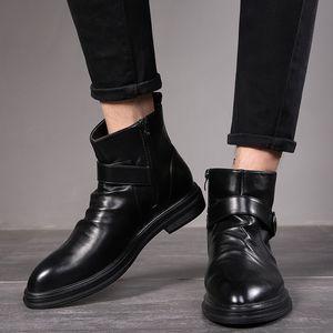 Осень Ранняя зима Boots Мужчины Boots Мужчины Повседневная обувь одного Кожа голеностопного Обувь мужская Черный A1789