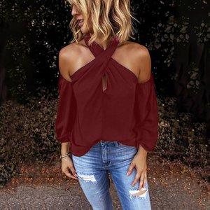 2020 Sexy Women Halter Blouse Clubwear New Slim Summer Cold Shoulder Long Sleeve Blouses Tops Streetwear