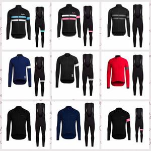 Men Breathable Quick Dry RAPHA team Cycling long Sleeves jersey bib pants sets MTB outdoor sportwear X63002