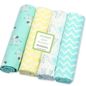 High Quality 4PCS PACK 100% Cotton Supersoft Flannel Receiving Baby Blanket Swaddle Baby Bedsheet 76*76CM Baby Blankets Newborn CX200704
