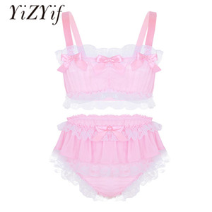 Yizyif Sissy Men Underwear Sexy Costumes Set Ruffled Lace Sheer Chiffon Crop Top Skirted Petticoated Panties Exotic Sets For Men J190614
