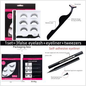 Wholesale New 3 in 1 set Handmade 3d false eyelashes black quick-drying non blooming a self-adhesive eyeliner set DHL free