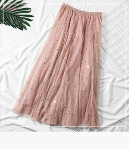 2019 Autumn Skirts Womens Ladies High Waist Solid Color Pleated Mesh Bling Long Maxi Skirt Prom Sweet Style Long Skirts