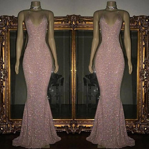 Rosa Pailletten Mermaid Prom Dresses 2019 U-Ausschnitt Ärmellos Sexy Low Back Funkelnde Abendkleider Sweep Zug Nach Maß