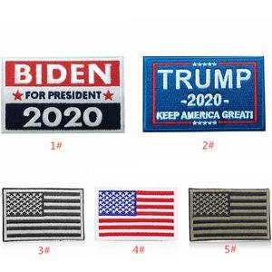 DHL FEDEX 5*8cm Cloth sticker 2020 USA election banner flags JOE BIDEN Trump for America President Embroidery Magic Stickers bag