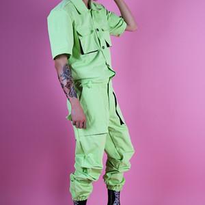 MenStreetwear Hip Hop Fashion Overalls Pants Summer Multi Pockets Cargo Jumpsuits Male Short Sleeve Singer Dancer Stage Clothes