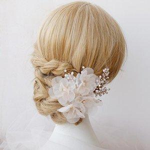 Clip boda Jonnafe elegante flor hecha a mano nupcial de Headwear peine del pelo accesorios de la joyería de las perlas de las mujeres de pelo bMtiC