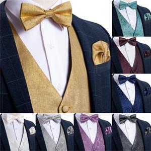 Men's Vest Gold Solid Silk Wedding Vest For Men Bowtie Hanky Cufflink Cravat Set for Suit Tuxedo DiBanGu New Designer