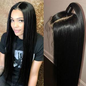 Natural Black 1B # мягкие длинные шелковистые прямые полные кружевные парики с детскими волосами Термостойкие парики синтетические кружева для чернокожих женщин