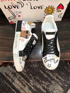 DOLCE&GABBANA Homme Hombres Mujeres comodidad ocasional de los zapatos Rey del amor del diseñador de moda de lujo Zapatos SEGUI AMORE Tide corona de cuero zapatillas de deporte