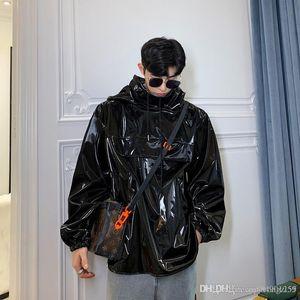 2019 new Korean fashion casual loose long locomotive jacket black imitation leather stand collar hooded leather jacket mens designer jackets