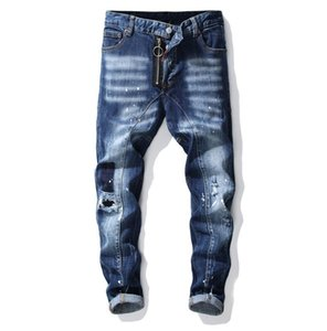 Designer Jeans big size jeans new men's paint hole style Mens Slim Casual Pants slim fit casual Pencil jeans free shipping