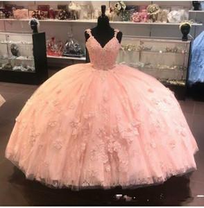 Modest 2020 Coral Quinceanera Abendkleider Ballkleid mit Spaghetti-Trägern-Spitze Bonbon 16 preiswerte Partei-formale Kleid-Abend-Kleider