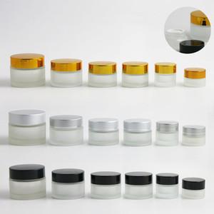 360 x 5g 10g 15g 20g 30g 50g Glassahnebehälter Frost Sahneglas mit Gold-Silber-Schwarz-Cap-transparentem Glas kosmetischen Fall
