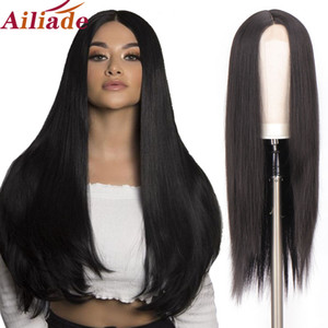 AILIADE Heat Resistant Synthetic Small Lace Front Wig Long Straight Wigs for Black Women Middle Part Black Cosplay Lace Wig