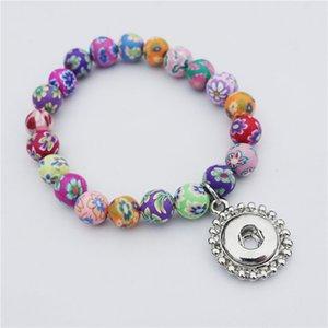 Meninas 15cm comprimento multicolor argila fimo grânulos pulseira 12mm snap botões noosa pedaços de metal gengibre crianças jóias por atacado
