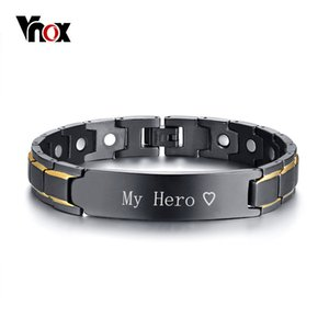 Vnox Personalized Id Jewelry Black Therapy Healing Magnetic Bracelets For Men Stainless Steel Power Bangle Father's Day Dad Gift Y19051101