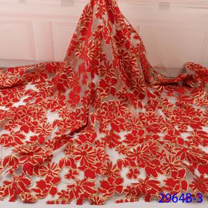 Kadınlar elbise AMY2964B için 2019 En Çok Satan Jakarlı Dantel Kumaş Yüksek Kaliteli Afrika Brocade Fabric Kırmızı Dantel Kumaşlar