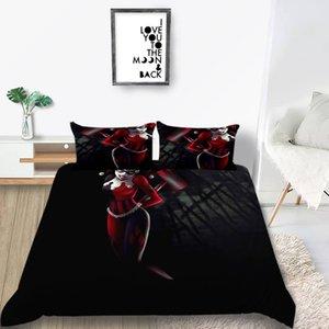Клоун комплект постельных принадлежностей один творческий забавный модный пододеяльник Черный Король Королева полный Твин двухместный удобный чехол с наволочкой