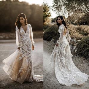 2020 manga larga vestidos de boda del país de cuello en V de encaje apliques Backless atractivos Vestidos de novia barrer de tren Una línea de playa vestidos de boda 817