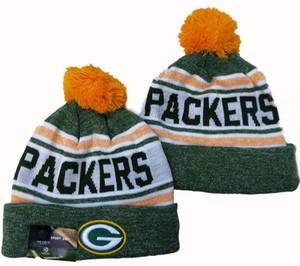 cappello all'ingrosso Green Bay Berretti inverno degli uomini di alta qualità Donne Calotta Pomp Skullies Script Cuffed Knit Hat con Pom 01