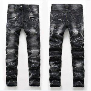 Única para hombre palideció Fold con paneles de jeans de moda del diseñador del pierna recta Slim Fit Motocicleta del motorista Rayado Pantalones vaqueros JB6501