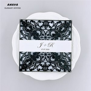50PCS Black Square Glitter Paper Laser Cut Wedding Invitation Card With Personalized Wedding Decor Party Supplies Free Shipping