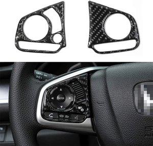 2019 2018 2017 2016 Civic 2020 için 10 Gen Civic Gerçek Karbon Elyaf Direksiyon Trims Inner Wheel Düğme Dekorasyon Kapak Thenice