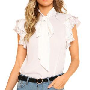 2019 Women Summer Ruffles Sleeve Tie Lace Thin Chiffon Blouse Top Tank Vest Shirt Blusas Femininas Elegante