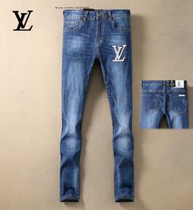 Jeans de motard masculin rétro font utilisé bleu marine impression mince pantalon de mode porter