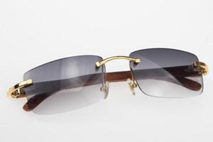 Ücretsiz Kargo Rimless Yeni kutusu Gray ile Ahşap güneş gözlüğü Sıcak 8200757 Çerçevesiz güneş gözlüğü Sıcak Unisex tasarımcı Ahşap gözlükleri Oyma gözlük