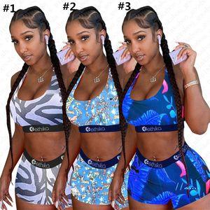 Donne Stripes Leaf Cartoon Costume popolare della stampa Costumi da bagno push up carro armato reggiseno + shorts 2pcs Bikini Beach vestito di nuoto D5610