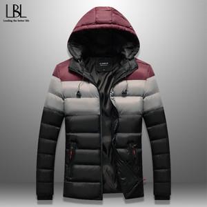 Kulaklık Kabloları ile Erkekler Kış Parka Patchwork wadded ceket Casual Sıcak Kapşonlu Pamuk dolgulu Coat Windproof Marka Giyim