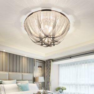 Italian Design Luxury Люстра потолочная лампа Подвеска Silver Art Design кисточкой Алюминий цепи LED Спальня Люстра Lusres