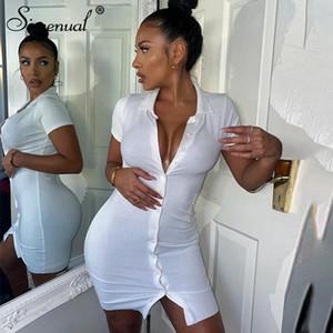 Simenual nervürlü Düğme BODYCON Mini Elbise Kadınlar Kısa Kollu Katı Moda Skinny Clubwear 2020 Yaz Elbise Casual Slim Temel