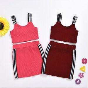 Bebek Giyim Çocuk Kız Örme Popo Sonuç Etek Giyim Yaz Suspender Kısa Üst Dar Etek Suits Butik Giyim D821 ayarlar