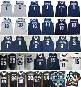 NCAA Villanova Wildcats 1 Jalen Brunson 10 Donte DiVincenzo 25 Mikal Bridges Kyle Lowry Kris Jenkins Arcidiacono 3 Josh Hart cousues Jersey