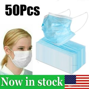 US STOCK !!! 50pcs descartáveis 3-Layer espessamento Nãotecidos Máscara Facial Anti nevoeiro e neblina Dustproof Health Care Earloops máscara máscaras Boca