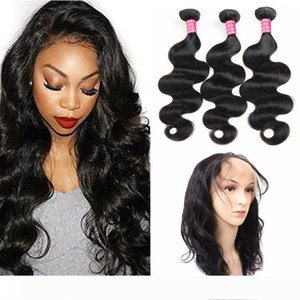 360 Full Lace Frontal Closure With Bundles Mongolian Virgin Human Hair Weaves Body Wave Extension 3Bundles with 360 Frontal Natural Color