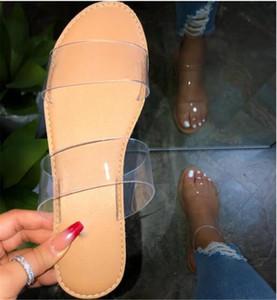 Горячие Продажи Женская Мода Дикий Пляж Обувь Большой Размер Ясно Плоские Тапочки Пляжная Обувь Открытый Сандалии Ясно Нескользящие Открытый Тапочки