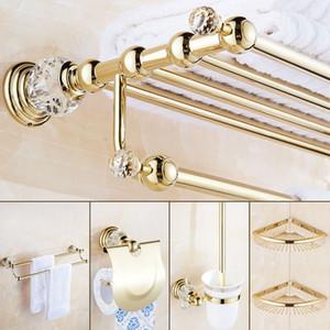 Cristalina de lujo de plata accesorios de baño Conjunto de oro de latón pulido Baño de hardware Conjunto montado en la pared del cuarto de baño Productos Cesta Rack3