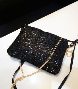 5pcs 2016 Newest Women Fashion Metal chain Sparkling Bling Sequin Shoulder bags Clutch Purse Evening Party Handbag Bags