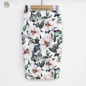 Summer Style Jupe crayon taille haute femmes vert Jupes Vintage élégant moulante imprimé floral Jupe mi-longue