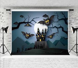 Traum 7x5ft Happy Halloween Dunkle Nacht Fotografie Hintergrund Papier Kunst Fledermäuse Baum Dekor Foto Hintergrund für Party Shoot Studio Prop