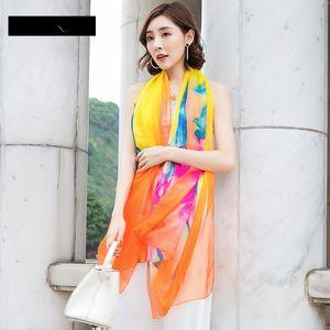 200*140cm Fashion Silk Scarves Shawl Women Chiffon Beach Towel Blanket Floral Print Summer Sunscreen Wraps Girl Riding Scarf GGA3376-8