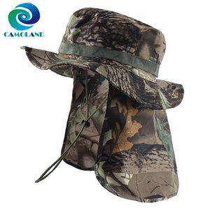 CAMOLAND Boonie Шляпы с шеи лоскут Mens женщин Камуфляж Bucket Hat Открытый Рыбалка Пешеходные UPF 50+ Sun Шляпы