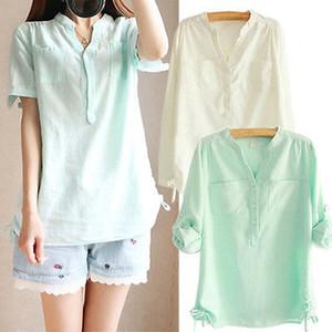 Mezcla de algodón flojo del verano de las nuevas mujeres de Corea Tops Camisa ocasional de la blusa de la vendimia