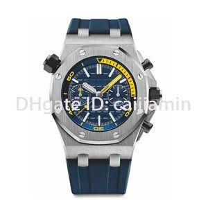 caijiamin-Top qualité Mens montre sport bracelet en caoutchouc 42mm VK Chronographe Top montre Montre bracelet coloré 5ATM imperméable orologio di lusso